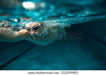 Male swimmer at the swimming pool.Underwater photo. #252099805
