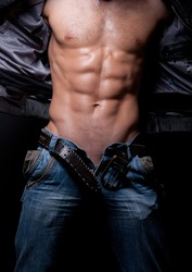 male torso with muscular abs