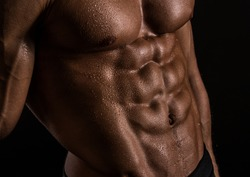 Male torso with strong abs
