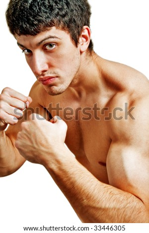 Male tough boxer ready for a fight