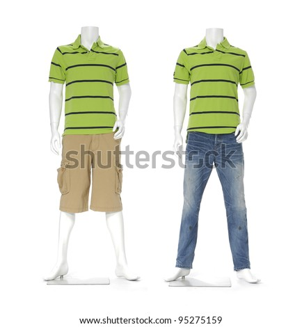 Male two mannequin dressed in green striped T-Shirts (Polo) and jeans with shorts