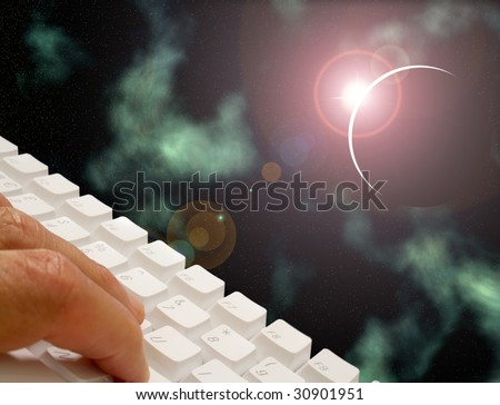 Male using keyboard overlaid over space scene