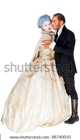 Male vampire embracing woman in medieval costume, isolated on white