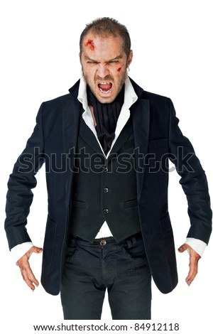 Male vampire with wounded face on white background