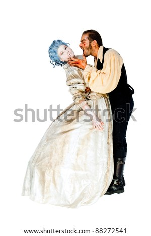 Male vampire with wounds biting woman's neck - both dressed in medieval costumes, isolated