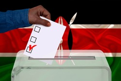 male voter drops a ballot in a transparent ballot box against the background of the Kenya national flag, concept of state elections, referendum