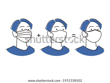 Male wearing a double mask Simple illustration Foto stock ©