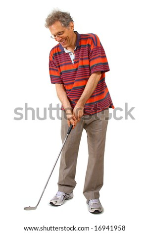 Male with golf club, taking a swing