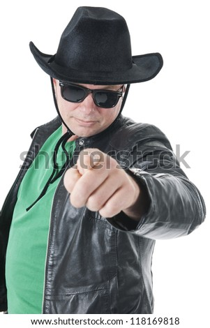 Male with hat and pointing with his finger isolated over white