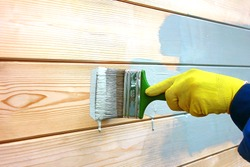 Male work hand in a yellow work glove paints the boards with a green brush on the wooden wall of the house, with acrylic blue-gray paint.