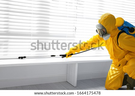 Male worker in protective suit spraying insecticide on window sill indoors. Pest control Foto d'archivio ©