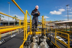 Male worker inspection visual pipeline oil and gas
