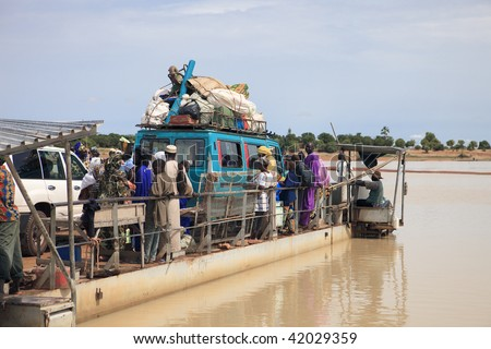 MALI - AUGUST 17: Ferry on the River Niger, forced use to access Djene City, August 17, 2009 in Djenne, Mali
