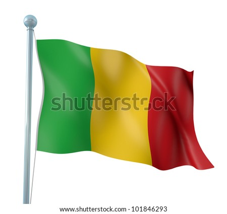 Mali Flag Detail Render