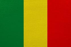 Mali flag on canvas. Patriotic background. National flag of Mali