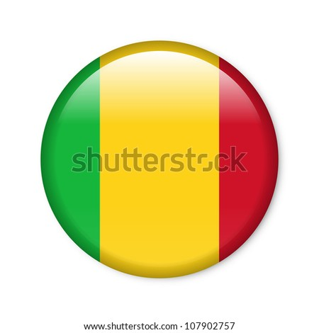 Mali - glossy button with flag