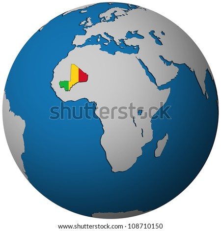 mali territory with flag on map of globe isolated over white