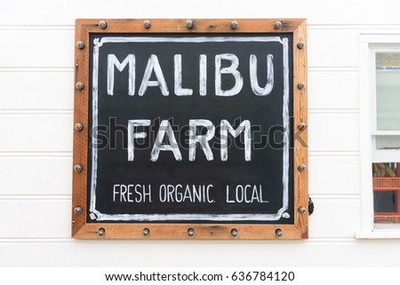 Malibu, California, USA - May 08, 2017: Malibu Farm Restaurant Sign on the Malibu Pier on May 08, 2017, Malibu, CA