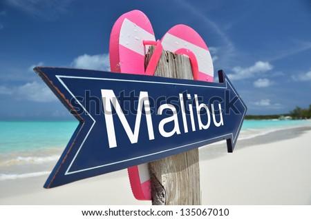 Malibu sign on the beach