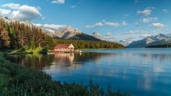 Maligne Lake and historic boathouse in Jasper National Park, Alberta, Canada.