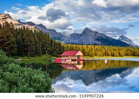 Maligne Lake at sunset, Jasper National Park, Canadian Rockies, Alberta, Canada. Stock photo ©