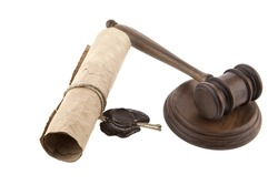 mallet and old paper on a white background