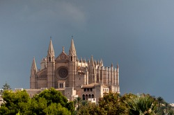 Mallorca cathedral behind some trees, laterally illuminated by the sun, but with a background of very dark sky covered with rain clouds
