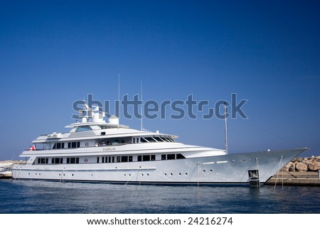 """MALLORCA - JUNE 10: """"Rasselas&quot ; is the world's Top 100 largest yachts, moored a few weeks in the marina Puerto Portals, June 10, 2008 in Mallorca (Majorca), Spain. - stock photo"""