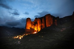 Mallos de Riglos red rocks in Aragon, Spain