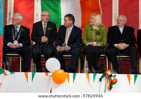MALLOW, IRELAND - MARCH 17: unidentified jury at the St. Patrick's day on March 17, 2012 in Mallow, Ireland. This national Irish holiday takes place annually in March, event held on the afternoon.
