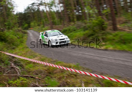 MALLOW, IRELAND - MAY 19: J. Laverty driving Mitsubishi Evo at the Jim Walsh Cork Forest Rally on May 19, 2012 in Mallow, Ireland. 4th round of the Valvoline National Forest Rally Championship.