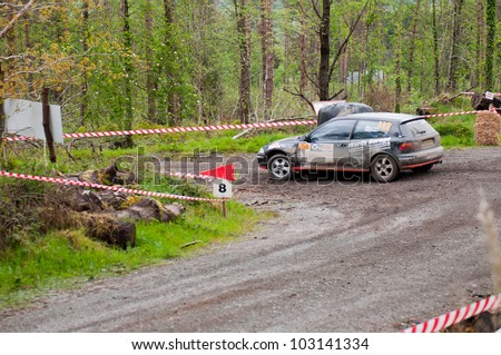 MALLOW, IRELAND - MAY 19: J. Lowery driving Honda Civic at the Jim Walsh Cork Forest Rally on May 19, 2012 in Mallow, Ireland. 4th round of the Valvoline National Forest Rally Championship.