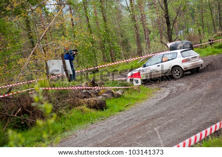 MALLOW, IRELAND - MAY 19: M. Ryan driving Honda Civic at the Jim Walsh Cork Forest Rally on May 19, 2012 in Mallow, Ireland. 4th round of the Valvoline National Forest Rally Championship.