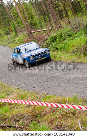 MALLOW, IRELAND - MAY 19: M. Sheahan driving Ford Escort at the Jim Walsh Cork Forest Rally on May 19, 2012 in Mallow, Ireland. 4th round of the Valvoline National Forest Rally Championship. - stock photo