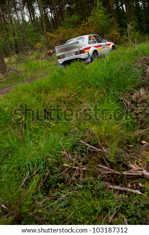 MALLOW, IRELAND - MAY 19: M. Sheedy driving Ford Escort at the Jim Walsh Cork Forest Rally on May 19, 2012 in Mallow, Ireland. 4th round of the Valvoline National Forest Rally Championship.