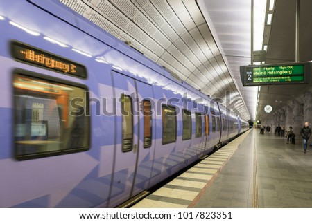 Malmö, Sweden - November 24, 2017: Underground Platform at Station Triangeln in Malmö, Sweden.The station is a part of the city tunnel which connect Malmö with Copenhagen in Denmark. #1017823351