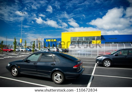MALMO-JUN 14: IKEA Malmo Store on Jun. 14, 2010 in Malmo(Malmo), Sweden. The company is the world's largest furniture retailer. Founded in Sweden in 1943 by 17-year-old Ingvar Kamprad.