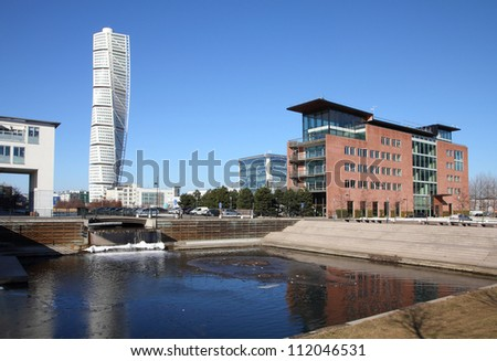 Malmo, Sweden - city skyline with famous Turning Torso. City in Scania county (Skane in Swedish) and Oresund region.
