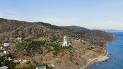 Malorechenskoe, Crimea. Temple-lighthouse of St. Mikoli the Wonderworker, Aerial View