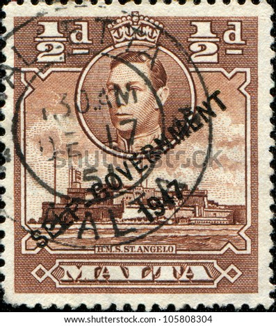 MALTA - CIRCA 1938: A stamp printed in Malta shows Fort St Angelo is a large fortification in Birgu, circa 1938