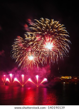 Malta Fireworks Festival beautiful, colorful lights in the night sky