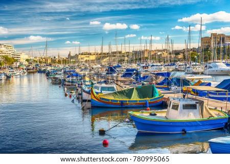 Malta: harbour of Sliema Creek in the morning