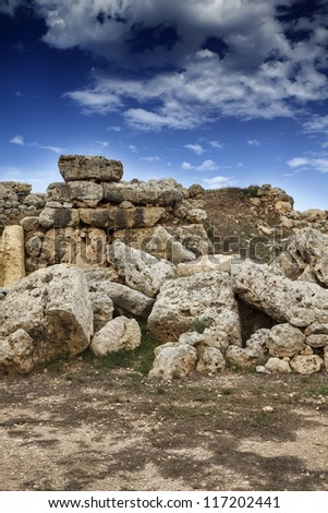 Malta Island, Gozo, the ruins of Ggantija Temples (3600-3000 BC), the megalithic complex was erected in three stages by the community of farmers and herders inhabiting the small island of Gozo