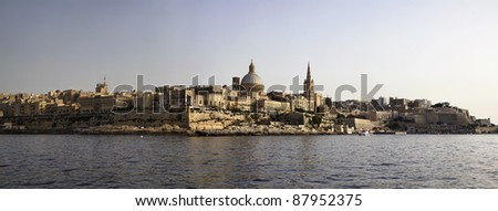 Malta Island, panoramic view of Valletta and St. John Co-Cathedral's dome - stock photo
