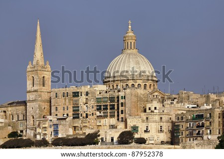Malta Island, view of Valletta and St. John Co-Cathedral's dome