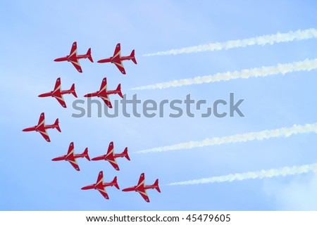 MALTA - SEPTEMBER 24: The Annual Malta Air Show, Italian Air force display their fighter jets in formation flying low overhead September 24, 2005 in Malta