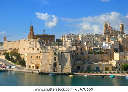 Malta, Valetta harbor, The Three Cities; a view to Cospicua from high up in Vittoriosa on a sunny day