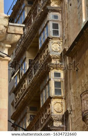 Malta, Valletta, facades of historic buildings
