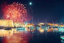 Malta Valletta night Festival of fireworks. Travel concept.