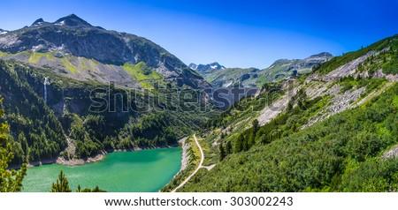 Malta Valley and Kolnbrein dam, Austria Stock photo ©
